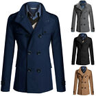 2015 Fashion Mens Casual Slim Fit Double Breasted Wool Blends Coat Jacket XS~L