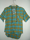 NWT TEEN SIZE BLUE PLAID HEAVY COTTON  FLANNEL SHIRT / HOODIE S,M,L or XL