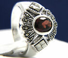 925 Sterling Silver 1.30 ct Oval Cut Solitaire Red Garnet CZ Engagement Ring