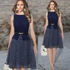 Vintage Women's Chiffon Polka Dot Crew Neck Sleeveless Belted Casual Party Dress