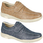 Mens New Light Tan / Navy Waxy Touch Fastening Comfortable Leisure Shoes 6 - 12
