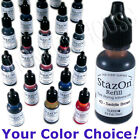 STAZON solvent INK BOTTLE permanent stamp pad refill REINKER inker 34 COLORS!