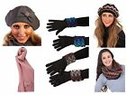Womens Luxury Hat Scarf Gloves Knitted Diamante Faux Fur Slouch Warm Winter Gift