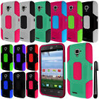 For ZTE Rapido LTE Z932L Robust Slim HYBRID Silicone HARD Case Phone Cover + Pen