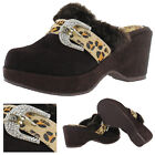 Grazie By Volatile Cheetah Wedge Clogs Shoes Faux Fur