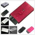 Automatic Sliding Embossed Metal Business Women/Man ID Credit Card Holder Case