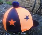 Lycra Hat Silk Skull cap Cover NAVY BLUE / ORANGE * STARS * With OR w/o Pompom