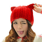 Women's Accessories Women's Horn Cat Ear Braided Knit Wool Winter Warm Cap Hat