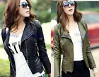 Army Green&Black Womens Punk Studded Shoulder PU Leather Jacket Coat Jacket S-XL