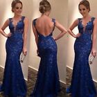 Women's Sexy Embroidered Party Cocktail Formal Lace V Neck Ballgown Long Dress