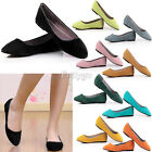 New Womens Ladies Flat Suede Leather Dolly Ballet Ballerina Shoes Pumps Pump