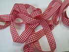 Gorgeous Gingham ribbon White & Red chequered Valentine - 25mm & various lengths