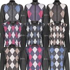 Mens Knitted Jumper Sweater Cardigan Argyle Diamond Design Golf 6 Styles M L XL