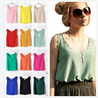 Korean Womens Summer Slim Chiffon Tops Tank Sleeveless Shirt Casual Blouse Vest