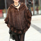Mad Selling Chic Scarves Farm Real Knitted Mink Fur Shawl/Wrap/Cape Hoody Poncho