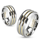 two tone wedding bands - Gold IP Lines Two Tone Stainless Steel Wedding Band Couple Mens Ring