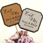 "DIY Personalised Double Sided White/Kraft Wedding Cupcake Toppers ""Eat Me"""