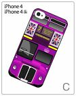 Retro England London Double Decker Bus Hard Cover Case for iiPhone 4 4S