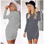 New Women Striped Irregular Crew Neck Long Sleeve Party Casual Mini Dress 2Color
