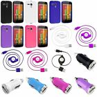 TPU Gel Jelly Skin Soft Case+Retractable Cord+ Car Charger For Motorola Moto G