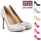 WOMENS GLITTER LEATHER PLATFORM HIGH HEELS PROM COURT SHOES SIZE 2 3 4 5 6 7 8 9