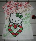 New Junior's HELLO KITTY White Christmas V-Neck Short Sleeve Tee ~Var Sizes~