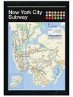 New Black Wooden Framed New York City Subway Map Poster