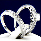 New 0.79 CT Clear CZ Engagement 316L Stainless Steel Wedding Brass Band Ring Set