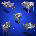 """New Commercial Restaurant 60"""" 24"""" S/S One Three Compartment Sinks Table choose"""