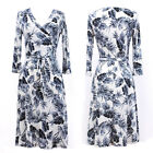 GRAY/WHITE LEAF Knee Length MAXI DRESS Jersey FAUX WRAP Boho CRUISE Travel S M L