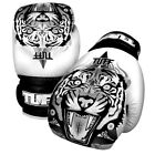 Tuff Muay Thai Boxing Gloves MMA Tiger White Kick Boxing Leather Free DVD