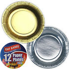 Paper Serving Plates Dinner Metallic Gold Silver Disposable Party BBQ Birthday