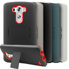 Matte Rubberized Hybrid Case Cover w/ Kickstand and Screen Protector for LG G3