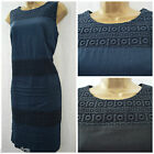 NEW BHS SHIFT DRESS LINEN BRODERIE NAVY BLACK SUMMER PLUS SIZE 14 - 22