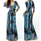 BEAUTIFUL BLUE & BLACK MULTICOLOR Jersey MAXI DRESS Faux Wrap X-Long BOHO S M L