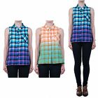 Hidden Fashion Womens Ladies Check Dipped Dye Vest Collared Shirt