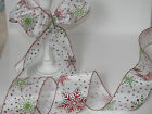 SNOWFLAKES Red & Green Glittery on White Christmas -Luxury Wire Edged Ribbon LOW