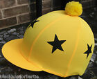 Lycra Riding Hat Silk Skull cap Cover YELLOW * BLACK STARS with or W/O Pompom