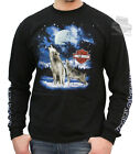 Harley-Davidson Mens Cold Winter Howling Wolves Black Long Sleeve T-Shirt