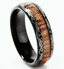 Tungsten Mens Carbide Ring 6mm Wood Inlay Dome Edge All Sizes Wedding Band M73