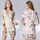 Women's Floral Lace Half Sleeves Butterfly Print Embroidered Party Mini Dresses