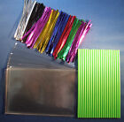 "CAKE POP KIT WITH 6"" GREEN PLASTIC STICKS + METALLIC TIES+15cm x 10cm CELLO BAGS"