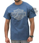 Harley-Davidson Mens Classic Grey B&S Blue Short Sleeve T-Shirt