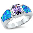 Sterling Silver Solitaire Blue Lab Opal Amethyst CZ Love Promise Ring Size 3-11