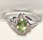 Genuine Faceted Oval Green Peridot .925 Sterling Silver Ring -- PD885