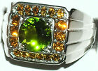 Men's Peridot and Citrine Stainless Steel Ring ** R4 ** Exclusive