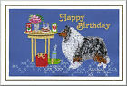 Rough Collie Birthday Card Embroidered by Dogmania  - FREE PERSONALISATION