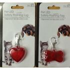 Red Bone or Heart Shape Pet Dog LED Safety Flashing Tag Collar Hi-Visability