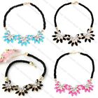 Hot Fashion Ladies Crystal Flower Bib Statement Choker Rope Design Cord Necklace