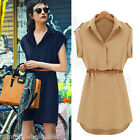 Fashion Women Shirt Dress Turn-down Collar Short Cap Sleeve Casual OL Mini Dress